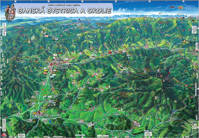painted map Banska Bystrica